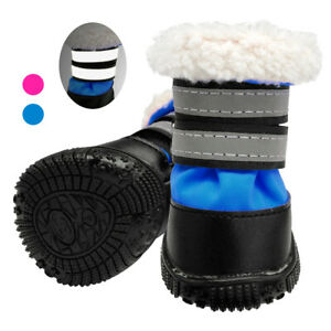 Waterproof Dog Shoes Reflective Warm Fleece Pet Snow Boots Non-Slip Dog Booties