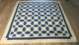 "Antique/Vintage Blue & White Patchwork Border 83 ¼"" x 80"" Estate Found Quilt"