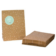 Geschenktüten Set 'Pack mich aus' mint 24 braune Tüten Kraftpapier Weihnachten