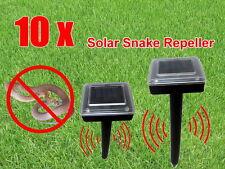10 X Snake Repeller Solar Powered Ultrasonic  & Pest Rodent Rat Repellent