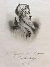 Sigismond II Auguste Zygmunt II Augustus Roi Pologne gravure XIXe King Poland