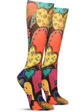 Laurel Burch Women's 1 pair Crew Socks Shoe 4-10 HEARTS Valentines Art Colorful