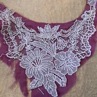 Antique Lace Scrap Fragment Salvage On Silk Doll Sewing Trim A34