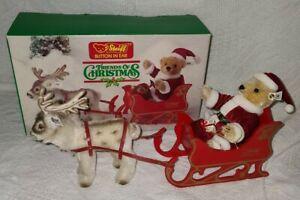 Steiff Friends of Christmas Santa Bear, Reindeer, & Sleigh In Box, #0118,00