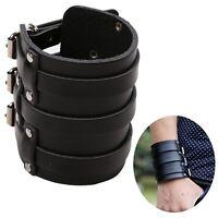 MSemis Mens PU Leather Arm Warmers Wide Bangle Cuff Wristband Bracelet Belt