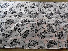 Vintage Pink with Black Orchids Nylon Fabric 4 Yards 45 Inches Wide