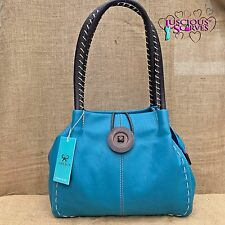 Donna Turchese in finta pelle Big Button Fashion Shoulder Bag Borsa