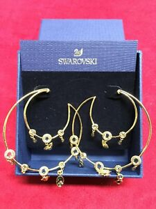 "Swarovski Clear White Crystal Beetle Hoop Gold Plated Earrings 2.5"" 5426604 SW22"