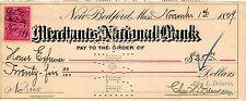 MECHANICS NATIONAL BANK AT NEW BEDFORD,REVENUE STAMP,1899,CHECK