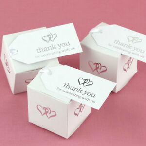 Silver Linked Heart Hearts Thank You Wedding Favor Tags Cards 25/pk