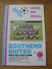 14/08/1976 Southend United v Brighton And Hove Albion [Football League Cup] (Ite