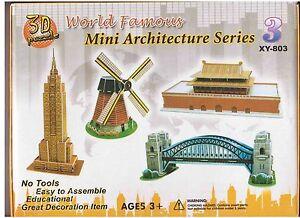 Mini Architecture Series 3 SUPER 3D Puzzle. Jigsaw Education 4 Different Models