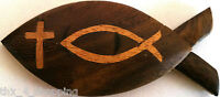 Christian Fish symbol Intarsia Handcrafted Brown