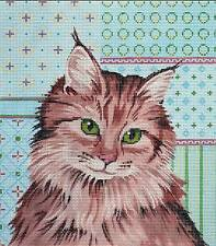 """Sp. Order ~ Labors of Love """"Maine Coon Cat"""" Kitty handpainted Needlepoint Canvas"""