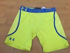 Under Armour UA Compression VENT Heatgear Shorts YELLOW BLUE Mens SMALL S