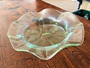 Antique Victorian Hand Blown Delicate Opalescent /Vaseline Glass Bowl