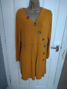 F+F Size 16 Mustard Button Detail Dress