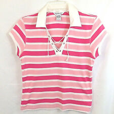 ABERCROMBIE&FITCH Girls SS Lace Up Cotton Knit Polo TShirt Pink White Chest 32 L