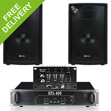 """2x Skytec 8"""" Inch PA Party Speakers + Power Amplifier + DJ Mixer + Cables 800W"""