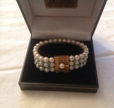 VERY RARE 18CT GOLD TURQUOISE & PEARL BRACELET