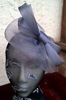 light grey fascinator millinery burlesque wedding hat ascot race bridal party