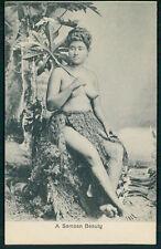 Ethnic South Pacific Samoa island Nude woman big nipples original c1910 postcard