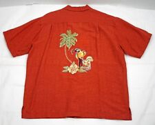 Caribbean Shirt Hawaiian Camp Tiki Embroidered Polly Parrot Drink Size Large