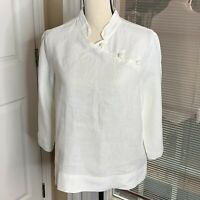 Willow Womens White Linen Tunic Top Blouse Lagenlook 3/4 Sleeve Frog Closure S