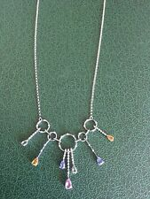 14K Solid White Gold Necklace with Gemstones 18 Inches