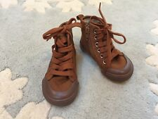 NEW Baby Gap Boys Camel Brown Hi Top Canvas Sneakers Shoes Boots 5 Toddler RR4TR