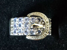 NEW Tanzanite Sterling Silver Belt Buckle Ring Size 7