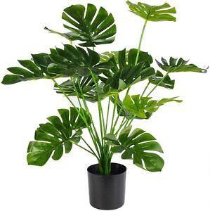 "28"" Fake Monstera Deliciosa Plant Artificial Palm Tree for Home Office Decor"
