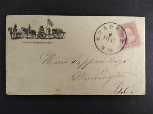 Civil War: Bradford, NH 1860s #65 Manchester Light Battery Patriotic Cover to DC