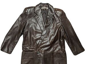PERRY ELLIS Saks Fifth Leather Full Length Jacket Rancher Trench Coat Women 10 M