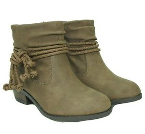 Brown Faux Leather Zip Ankle Boots Girls Toddler Sizes 7 Braided Rope Trim New