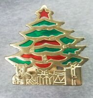 Vintage Brass Stained Glass Christmas Tree Napkin / Desk Letter Holder