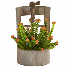 Sedum Artificial In Rustic Wooden Garden Planter Nearly Natural Home Decoration