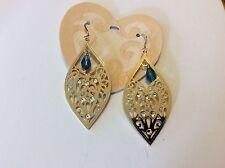 $64 Brighton Lunetta Gold Dangle Earrings w/Blue Bead 407