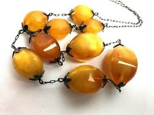 Vintage Soviet Amber Necklace Graduated Beads Stamped 875 Silver Mid Century
