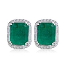 Emerald Gemstone Stud Earrings Si/Hi Diamond 18k White Gold Handmade Jewelry