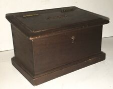 Antique Walnut Wooden Bank Box Dovetail Lock Slit Folk Art AAFA
