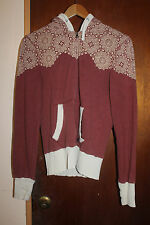 Obey Women's Brown Hoodie Sweater Full Zip Jacket Size Medium 8