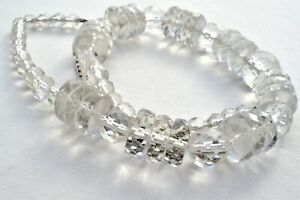 Clear Crystal Quartz Bead Necklace 14K White Gold Chain Faceted Vintage Jewelry