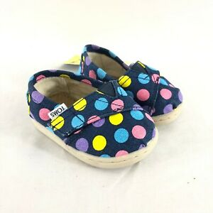 Toms Toddler Girls Tiny Classic Shoes Sneakers Canvas Polka Dot Rainbow Size 4