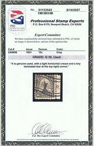 GENUINE SCOTT #696 POSTALLY USED 1931 GRAY PSE CERT - STATUE OF LIBERTY #10294