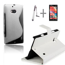 White Wallet 4in1 Accessory Bundle Kit Case Cover For Nokia Lumia 930