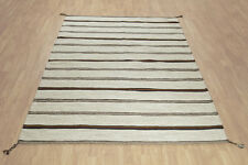 PURE NATURAL WOOL STRIPED ETHNIC Hand Woven Kilim Durrie Rugs & Runner -50% RRP