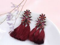 Earrings Golden Chandelier Floral Pompom Tassel Crystal Red Retro XX25