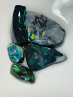 Australian Rough Opal L/R BLACK RUB/ROUGH EXPOSED COLOURS 48cts ww1060 Video