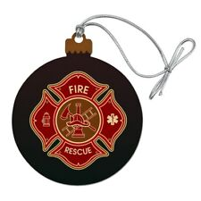 Firefighter Fire Rescue Maltese Cross Wood Christmas Tree Holiday Ornament